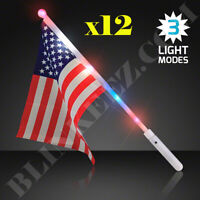 12X 4TH OF JULY USA LIGHT UP LED AMERICAN FLAGS - GREAT FOR 4TH OF JULY FUN!