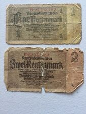 Two old 1937 German Bank Notes 1 Mark & 2 Mark