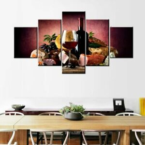 Red Wine Glass Bottle Food 5 Piece canvas Wall Art Print Poster Home Decor
