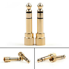 "2 Pcs Brass Gold 1/4"" 6.35mm To 3.5mm Plug Stereo Audio Headphone Screw"