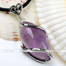 1x Natural Amethyst Quartz Gemstone Horse Eye Wrap Bead Pendant For Necklace DIY