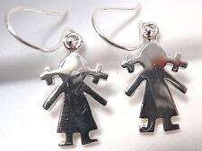 Little Girl in Pigtails Earrings 925 Sterling Silver Dangle Corona Sun Jewelry