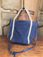 New Anthropologie Anita Bilardi Blue Canvas Shimmer Strap Tote Women's Bag.