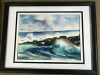 """Dorothea Schierenback 1975 """"Surf In Maine"""" Watercolor Painting - Signed/Framed"""