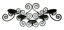 Rustic Black Wrought Iron Scroll Wall Hanging Candle Holder Candleabra Spanish