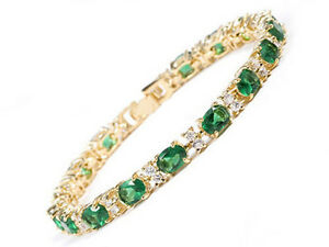 Green Cubic Zirconia Clear Crystal Yellow Gold Plated Tennis Bangle Bracelet