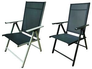 High Back Garden Dining Chair Seats, Strong Adjustable Aluminium Folding