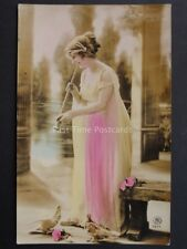 Female Dressed in Greek Style Plays Flute or Horn to Doves - Old RP PC by RS7211