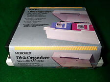 "New Memorex 3.5"" Floppy Disk Storage Box 2 Rows Holds 80 Disks"