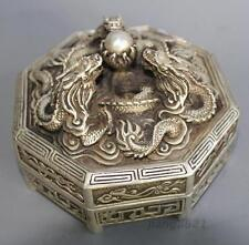 Tibet Exquisitely Carved Silver Eight Immortals Dragons Smoked Statue