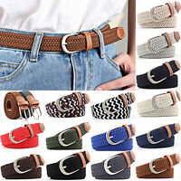 Unisex Men Women Waist Belt Canvas Woven Elastic Stretch Wasit Buckle Waistband