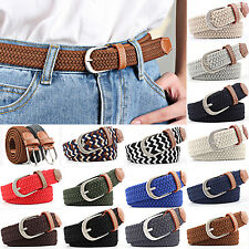 Men Women Unisex Webbing Canvas Leather Belts Buckle Stretchy Braided Waistbands