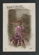 1900s Belgium Postcard cover to France Postage Due Little Boy with Flowers