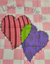 LOVE IS IN THE AIR HEARTS FLAG 36 x 29 Nylon Pink White Purple Large