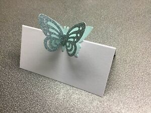10 White Name Place Cards With A Pale Blue Glitter Butterfly