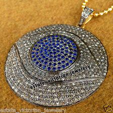 4.37cts Pave Rose Cut Diamond Sapphire Vintage Stunning Jewelry Evil Eye Pendant