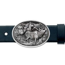 Elk BELT Buckle 4 Elk Solid PEWTER Oval w/Gift Box