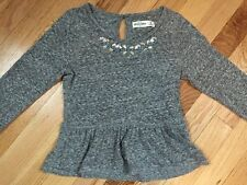 Girls Abercrombie And Fitch Gray Top Jewel Peplum Medium
