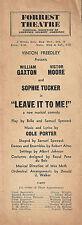 "Sophie Tucker ""LEAVE IT TO ME!"" Cole Porter / William Gaxton 1939 Program"