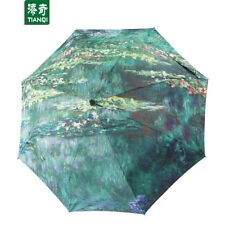 Monet Water Lilies oil painting Anti-UV Portable Folding Sun rain Snow Umbrellas