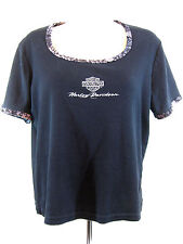 Harley Davidson Women's T-Shirt Top. Cropped, Knit with velvet type trim Size Lg