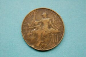 FRANCE - 1908 DIX (10) CENTIMES THIRD REPUBLIC BRONZE PARIS MINT COIN