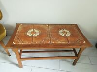 Vintage mid century danish teak tile topped two tier coffee table - Delivery