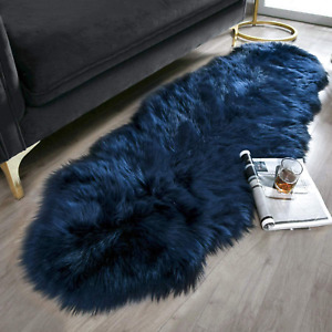 Ashler Soft Faux Sheepskin Fur Chair Couch Cover Navy Blue Area Rug for Bedroom