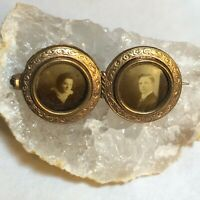 Antique Victorian Gold Plated Round Double Photograph Portrait Pin or Brooch