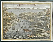 1747 CONSTANTINOPLE ISTANBUL VIEW RARE COLORED COPPERPLATED BYZANTIUM TURKEY