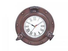 "Bronzed Deluxe Class Porthole Clock 8"" - Nautical Wall Clock - Clock Decoration"