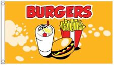 Burgers Chips Fast Food Vendors Advertising POS 5'x3' Flag