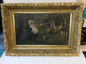 Magnificent Oil Painting Folk Art Children Deer in Woods w Best Gilt Gesso Frame