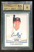 2011 Alex Bregman Topps USA Baseball (BGS 9.5 GEM MINT) Graded 10 Auto RC Rookie