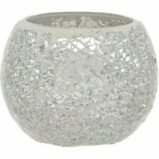SILVER CRACKLED GLASS MOSAIC CANDLE TEALIGHT HOLDER HOME DECOR
