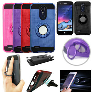 Phone Case for LG Rebel 4 / Rebel 3 Shock Absorbing Dual-Layered Cover Ringstand
