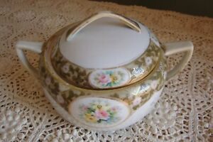 NICE RARE ~ NIPPON~MULTI~COLOR~ROSES~BISCUIT~CRACKER~JAR~BOWL~GOLD~HAND~PAINTED!