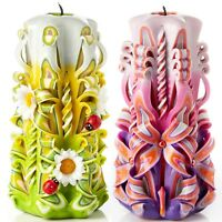 Large Colorful And Unique Hand Carved Unscented Candle - Gift Or Home Decor