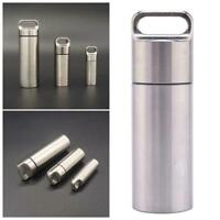 EDC Outdoor Survival Waterproof Capsule Seal Case Bottle Container Tool Pil V5A7