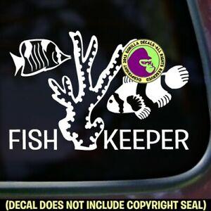 FISH KEEPER Vinyl Decal Sticker Aquarium Salt Fresh Water Tank Car Window Sign