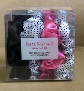 ISAAC MIZRAHI Anti-Breakage Satin Sleep Scrunchies Set of 4 Pink/Polka Dot NIB