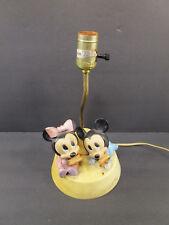 Vintage 1986 Walt Disney Baby Mickey and Minnie Mouse nursery lamp night light