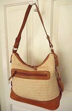 Carryland Woven Purse Handbag-beige with tan trim