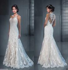 New White/Ivory Lace Wedding Dress Bridal Gown Custom Size 6 8 10 12 14 16 18++
