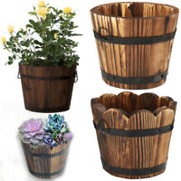 Round Oval Barrel Planter Plant Pot Burntwood Wooden Flower Pots Plants Garden