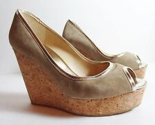 $595 JIMMY CHOO Gold Beige suede Cork Platform Shoes Prova runway wedge 38.5 8.5