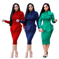 Womens long sleeves Bodycon Clubwear Party Cocktail evening OL mini dress