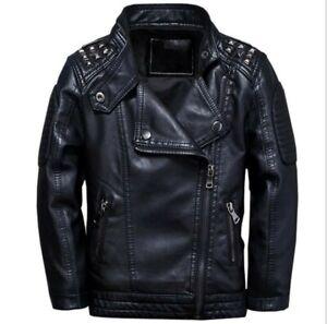 Cool Kids Boys Warm Leather Jacket Fleece-lined Biker Black Outerwear Coat 2021
