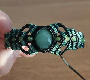 Handmade Natural Stone Green Aventurine Macrame Beaded Bracelet Adjustable