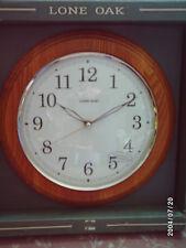 "Lone Oak 12"" Round Wall Clock * Wood Frame * Glass Face * runs on 1 AA Battery"